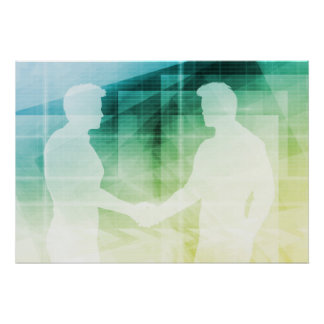 Silhouettes of Two Businessman Shaking Hands Art Poster