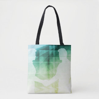 Silhouettes of Two Businessman Shaking Hands Art Tote Bag