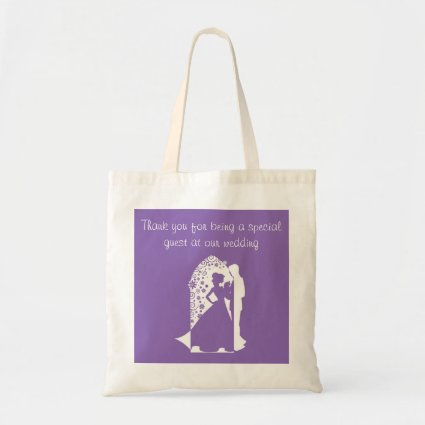 Silhouettes Purple Wedding Budget Tote Bag