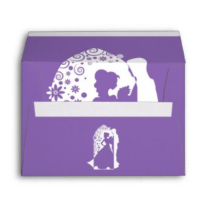 Silhouettes Purple Wedding Envelopes