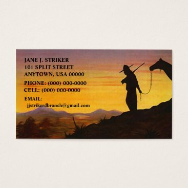 Professional Business SILHOUETTES w/ WESTERN SKY SUNSET BUSINESS CARDS! Business Card