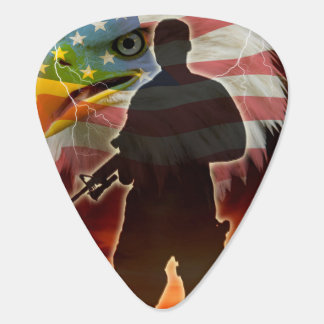 Silhoutte of a Soldier Guitar Pick