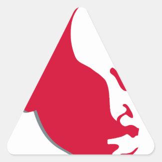 Silhuette rojo de la plantilla de Vladimir Ilich Pegatina Triangular