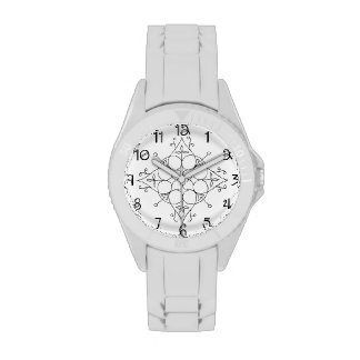 Silicone Watch with White Strap and Scroll Dial