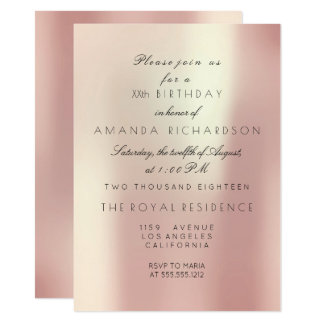 Silk Delicate Pink Rose Blush Gold Birthday Event Card