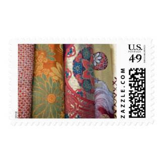 Silk fabric on display in shop in historic postage stamp