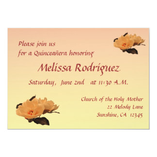 Silk Flowers Quinceanera 5x7 Paper Invitation Card