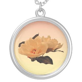 Silk Flowers Round Pendant Necklace