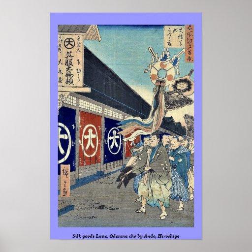 Silk goods Lane, Odenma cho by Ando, Hiroshige Print