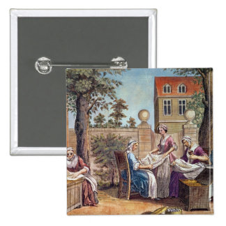 Silk-Making, engraved by J. Hinton 2 Inch Square Button