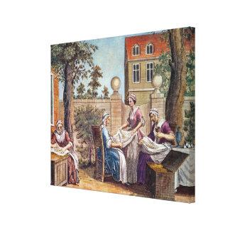 Silk-Making, engraved by J. Hinton Canvas Print