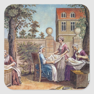 Silk-Making, engraved by J. Hinton Square Sticker