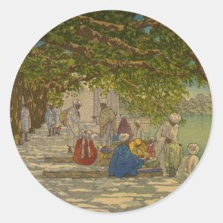 Silk merchants, India 1920 Classic Round Sticker