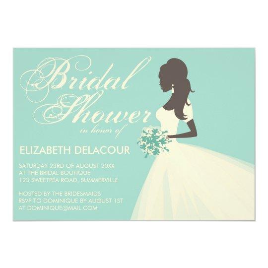 Silk Organza Wedding Gown Bridal Shower Invitation