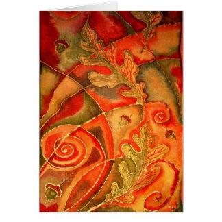 Silk Painted Acorn Oak Leaf greeting card By Cyn