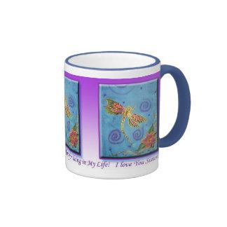 Silk Painted Dragonfly Gratitude siter Mug