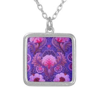 Silk Purple Boho Square Pendant Necklace