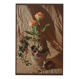 Silk Roses Wood Wall Decor