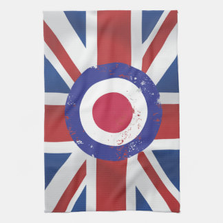 Silk style Union Jack British Flag with mod target Kitchen Towels