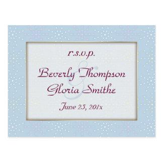 Silk Tones Blue Wedding RSVP Postcard