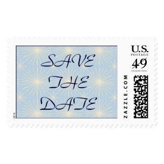 Silk Tones Blue WEDDING Save The Date Postage