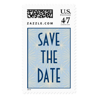 Silk Tones Blue WEDDING Save The Date Postage Stamp