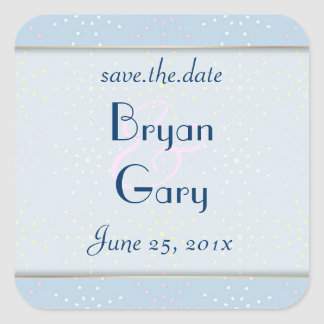 Silk Tones WEDDING Save The Date Square Sticker