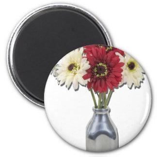 SilkFlowersMilkBottle050111 2 Inch Round Magnet