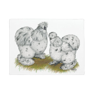 Silkie Bantam Splash Chickens Doormat