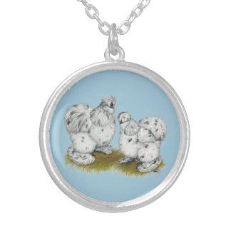 Silkie Bantam Splash Chickens Silver Plated Necklace