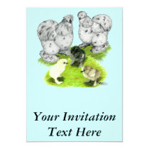 Silkie Bantam Splash Family Invitation