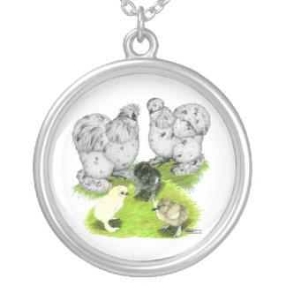 Silkie Bantam Splash Family Round Pendant Necklace