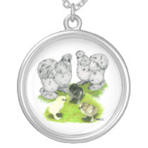 Silkie Bantam Splash Family Silver Plated Necklace