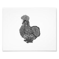 silkie chicken drawing photo print