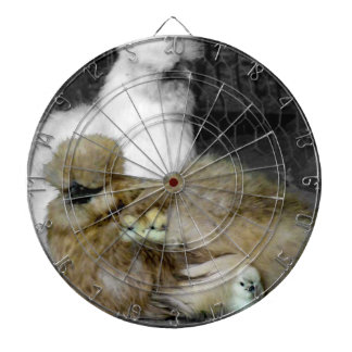 Silkie Hens with Chicks Peeking out of Feathers Dartboard