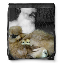 Silkie Hens with Chicks Peeking out of Feathers Drawstring Backpack