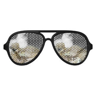 Silkie Hens with Chicks Peeking out of Feathers Aviator Sunglasses