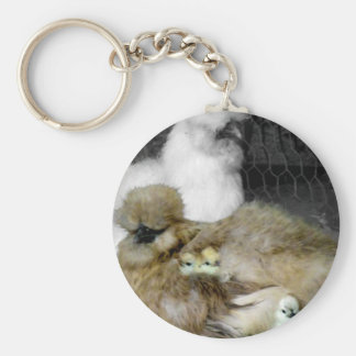 Silkie Hens with Chicks Peeking out of Feathers Keychain