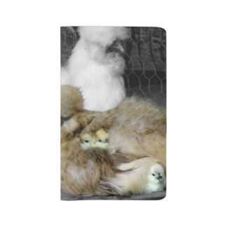 Silkie Hens with Chicks Peeking out of Feathers Large Moleskine Notebook