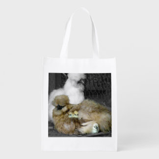 Silkie Hens with Chicks Peeking out of Feathers Reusable Grocery Bag