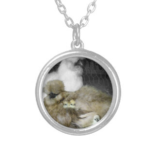 Silkie Hens with Chicks Peeking out of Feathers Silver Plated Necklace