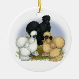 Silkie Trio Double-Sided Ceramic Round Christmas Ornament