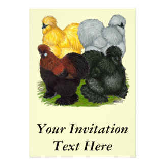 Silkies:  Assorted Roosters Custom Invitations