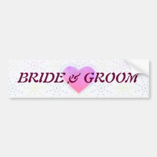 Silktones Dotty White Wedding Car Bumper Sticker