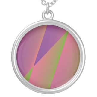 Silky - Girly Abstract in Pink, Purple, and Green Silver Plated Necklace