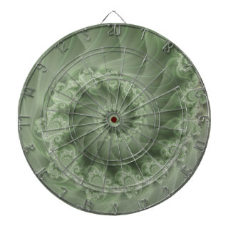 Silky Green Spiral Fractal Dart Board