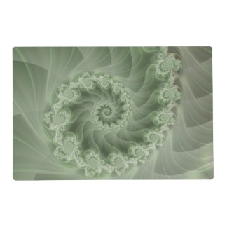 Silky Green Spiral Fractal Placemat