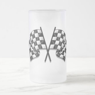 Silky looking Motorsport chequered flag gear 16 Oz Frosted Glass Beer Mug