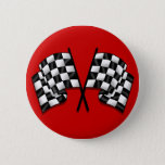 Silky looking Motorsport chequered flag gear Pinback Button