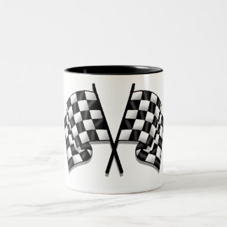 Silky looking Motorsport chequered flag gear Two-Tone Coffee Mug